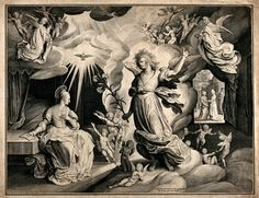The Annunciation to the Virgin. Engraving by N. de Bruyn, 1622
