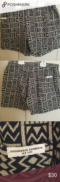 Patterned shorts Blue and white patterned high waisted shorts engineered garments  Shorts