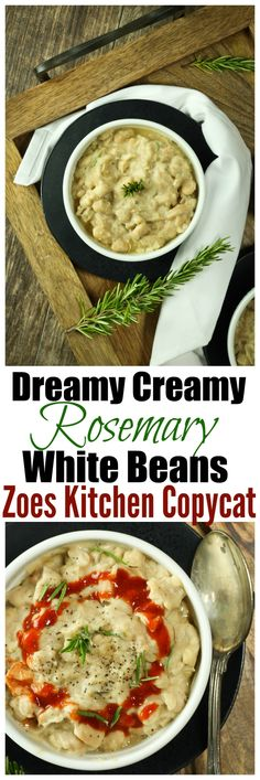 """Dreamy Creamy Rosemary White Beans REMAKE from the super popular """"Braised White Beans"""" from Zoes Kitchen! BUT made so much healthier without any oil!"""