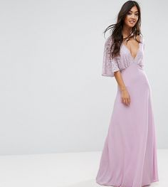 875efa9a42 John Zack Petite Open Back Maxi Dress With Fluted Lace Sleeve - Purple Open  Back Maxi