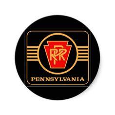 Pennsylvania Railroad Logo, Black & Gold Round Sticker