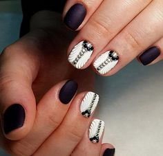3d nails, Black nails with rhinestones, Dimension nails, Evening dress nails…