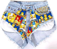 Shorts Os Simpsons :) Denim Cutoff Shorts, Vintage Outfits, Vintage Clothing, Cool Outfits, My Style, Womens Fashion, How To Wear, Levis, Clothes