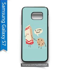 Blue Milk Cookie I Love You Samsung Galaxy S7 Case Cover