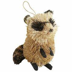 Natural Glitter Raccoon Ornament
