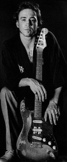 Stevie Ray Vaughan poses with his Fender 'Number One""
