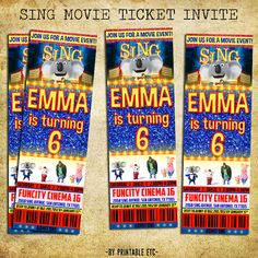 Sing Invitation - Sing Movie Birthday Ticket Party Invite - Printable And Digital File