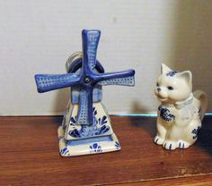 Delf Porcelain Blue and White Wind Mill, Blue and White Cat Vase