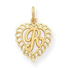 Initial R Charm in 14k Gold