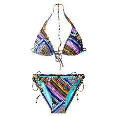 Target : Junior's Triangle 2-Piece Bikini Swimsuit -Multicolor Print : Image Zoom