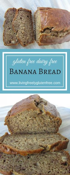 Banana Bread: Gluten Free and Dairy Free. Moist and delicious, this banana bread reminds me of my Grandma Olga's. Perfect for breakfast or afternoon tea. www.livingfreelyglutenfree.com