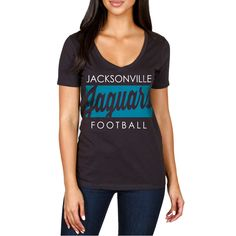 Jacksonville Jaguars Women's Draw Play V-Neck T-Shirt - Black - $19.99 http://jaguarsapparel.com/