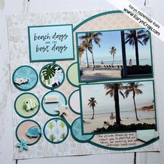 Beach Scrapbook Layouts, Digital Scrapbooking Layouts, Scrapbook Sketches, Scrapbook Paper Crafts, Scrapbook Albums, Scrapbook Cards, Toned Paper, Simple Photo, Wedding Scrapbook