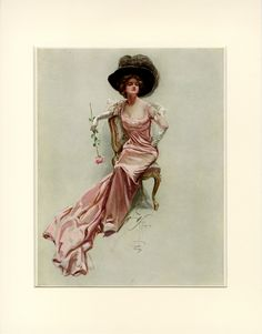 Harrison FIsher Beautiful Victorian Lady in Pink Dress Fabric Block or Vintage Prints, Vintage Art, Vintage Ladies, Pink Ladies, Victorian Art, Victorian Women, Dame, Gibson Girl, Moda Vintage