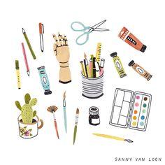 Art supplies for Flow Magazine - Sanny van Loon • Illustration