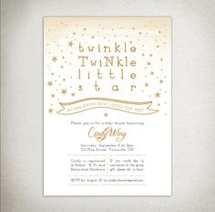 BABY SHOWER Printable Twinkle Twinkle Little Star Invitation - gold 3a53b9556f