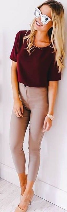 #fall #executive #peonies #outfits |  Burgundy Tee + Nude Pants