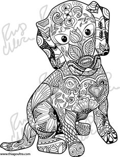 The Puppy  This is an instant download colouring page, designed by me. After buying, you will be able to download one 300dpi .PNG, file,