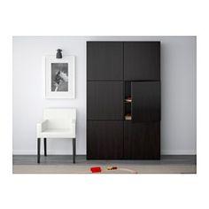 BESTÅ Storage combination with doors, Lappviken black-brown - - - IKEA