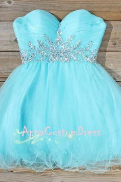 Strapless Sweetheart Short Sky Blue Tulle Silver Beaded Homecoming Dress