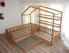 Maison en bois lit est faite à partir de bois de peuplier faux-tremble ou aulne poli de grande classe. Le bois est peint avec écologique, bébé sécurité protection cire naturelle pour le bois, contenant de l'huile de lin qui est spécialement préparé pour le bois de traitement, colophane