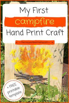 Hand Print Campfire Craft - A Camping Keepsake! – The Crazy Outdoor Mama Hand Print Campfire Craft - Camping Activities, Camping Crafts, Infant Activities, Diy Camping, Camping Games, Camping Theme, Camping Ideas, Kid Crafts, Camping Checklist