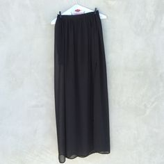 H&M Maxi Skirt Sheer black maxi with cotton interior mini slip. Great for any occasion. Like new! Reasonable offers welcome! H&M Skirts Maxi