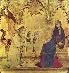 -DETTAGLIO-L'Annunciazione tra i santi Ansano e Margherita è un dipinto a tempera e oro su tavola (305x265 cm) di Simone Martini e Lippo Memmi, firmata e datata al 1333, e conservato negli Uffizi a Firenze. Si tratta di un trittico ligneo dipinto a tempera, con la parte centrale ampia il triplo dei due scomparti laterali. Considerato il capolavoro di Simone Martini, della scuola senese e della pittura gotica in generale, venne realizzato per un altare laterale del Duomo di Siena.