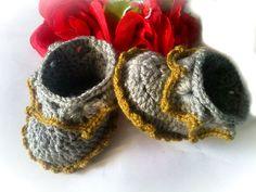 Crochet Baby Booty, Newborn Crochet Boy or Girl Baby Booties, Christening, Baptism, Baby Shower Gift Idea. $11.90, via Etsy.