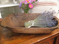antique handcarved WOODEN DOUGH BOWL cottonwood by grainsack