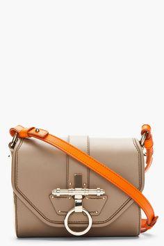 Givenchy Taupe Orange Gold Trim Obsedia Shoulder BAg Cross Body