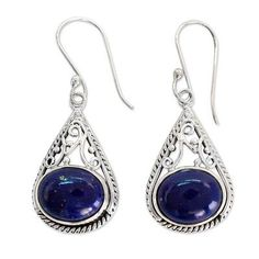 Lapis lazuli dangle earrings, 'Royal Grandeur' - Fair Trade Lapis Lazuli and Sterling Silver Earrings