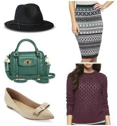 FIVE FOR FRIDAY, VOL. 51 – CHRISTMAS LIST WISHING   Style On Target   black hat, green crossbody purse, bow flats from Target, sweater skirt