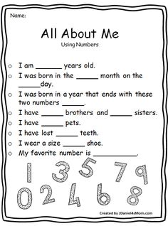 This set of All About Me worksheets invites children to explore a variety of math concepts. They would be great Back to School activities. All About Me Maths, All About Me Worksheet, All About Me Preschool, All About Me Activities, Back To School Activities, Math Activities, Parts Of Speech Worksheets, Writing Practice Worksheets, English Worksheets For Kids