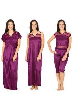 Feel stress free and comfortable wearing these women satin purple coloured night wears #nightwears #onlinenighties #womensfashion #nightwearset #nightweardresses #nightsuitsonline Shop now-  https://trendybharat.com/women/lingeries-sleepwear/gown/women-satin-purple-long-night-dress-with-robe-set--hc-6p-99_1?mfp=3f-brand%5B723%5D
