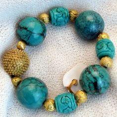 armband_01_001 Design Shop, Turquoise Bracelet, Beaded Bracelets, Jewelry, Semi Precious Beads, Handmade, Wristlets, Schmuck, Gifts