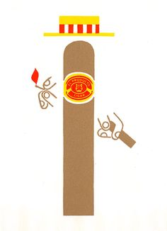 El Producto Cigar Company logo designed by Paul Rand in 1952. This design is fun and memorable. The Vertical design is appropriate to be placed on the cigar product. Placement of the logo was considered.