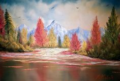 Landscape by Dr. Oil Paintings, Landscape Paintings, Oil On Canvas, Mountain, Colours, Art, Art Background, Kunst, Gcse Art