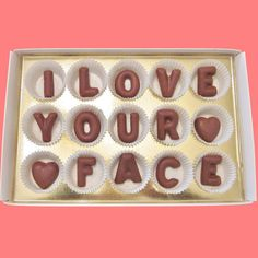 I Love Your Face Large Milk Chocolate Letters Romantic Anniversary Men Women Valentines Gift for Him Man Her Woman Made to Order
