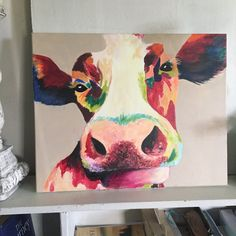 Acrylic and Oil Based Painting, Cow Painting, Colorful Painting