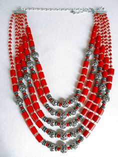 Bohemian Tribal Ethnic Necklace/ Coral di JewelryThreeSnails