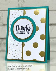 handmade thank you card using  Global Design Project Sketch Challenge #082 ... teal, white and gold ...