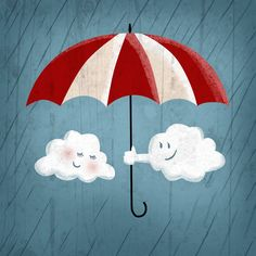 Cute+clouds+under+umbrella+art+print+by+OlliesRoomArt+on+Etsy,+$30.00
