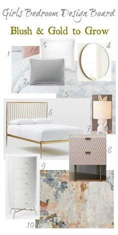 Girls Bedroom Inspiration with blush and gold furniture and wall art. Perfect for your daughter at any age! #sponsored #westelm #nestingwithgrace #girlsroom
