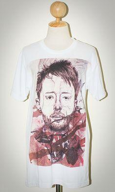 Thom Yorke Radiohead White Alternative Punk Rock Unisex Women T-Shirt Size L