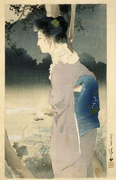 Kuchi-e  1907    Kaburagi Kiyokata , (Japanese, 1878 - 1972)       Woodblock print; ink and color on paper  H: 29.8 W: 17.6 cm   Japan