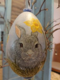 SPRING RABBITS AND DAFFODILS HANDPAINTED ON REAL BLOWN GOOSE EGG by RENATE'