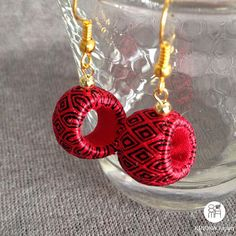 kimono Rock black & red | unusual handmade earrings made with Japanese silk…