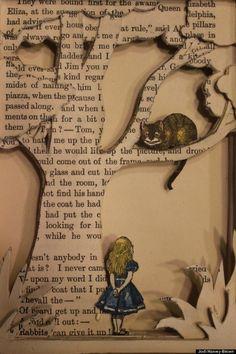 """Chất liệu mà Jodi Harvey-Brown sử dụng cho dự án nghệ thuật này là những cuốn sách cũ và nội dung của chính các cuốn sách đó. Bằng bàn tay tài hoa của mình, bà Brown đã cắt tỉa, xếp các trang sách để tạo ra những nhân vật sống động trước mắt người xem.  """"Alice In Wondeland"""" là một trong những câu chuyện được Brown kể lại. Nữ nghệ sĩ nói: """"Tôi không bao giờ vứt đi những cuốn sách cũ. Đến giờ, tôi đã có hàng trăm cuốn""""."""