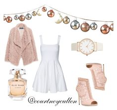 """""""A sweet soft pink Christmas"""" by courtneyjanecullen on Polyvore featuring DwellStudio, Zara, French Connection, Dolce&Gabbana and Elie Saab"""